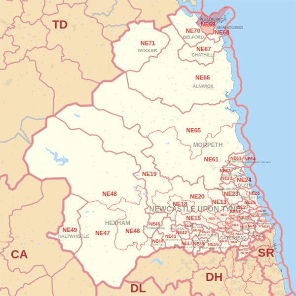 Map showing the NE69 Postcode area Cpvered By Berwick skip Hire