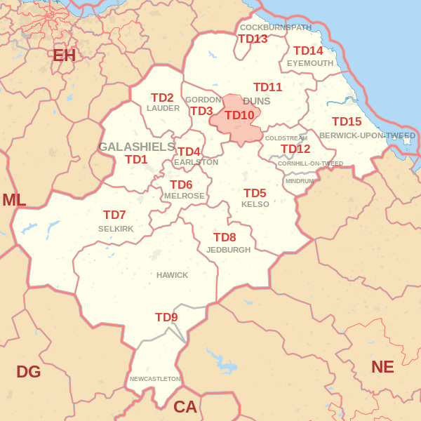 Map showing the TD10 Postcode area Cpvered By Berwick skip Hire