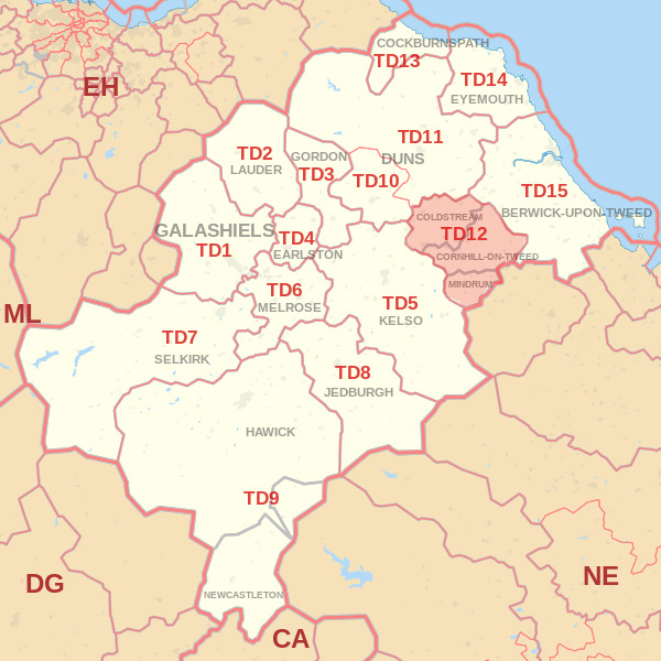Map showing the TD12 Postcode area Cpvered By Berwick skip Hire