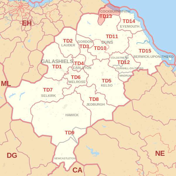Map showing the TD13 Postcode area Cpvered By Berwick skip Hire