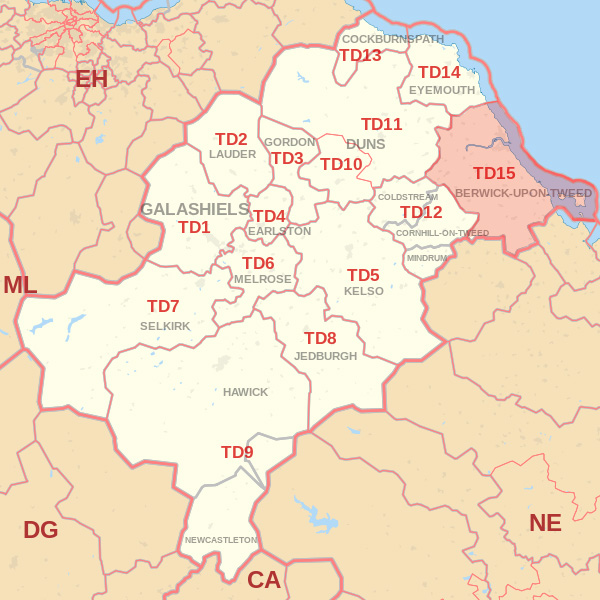 Map showing the TD15 Postcode area Cpvered By Berwick skip Hire