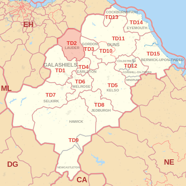 Map showing the TD2 Postcode area Cpvered By Berwick skip Hire