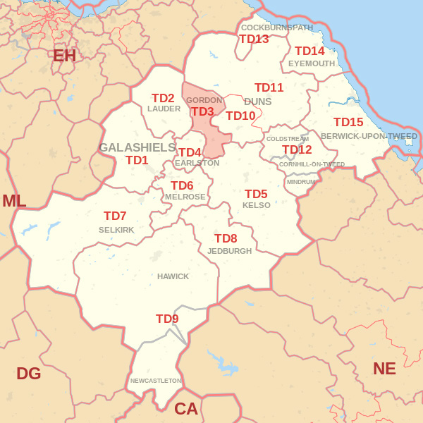 Map showing the TD3 Postcode area Cpvered By Berwick skip Hire