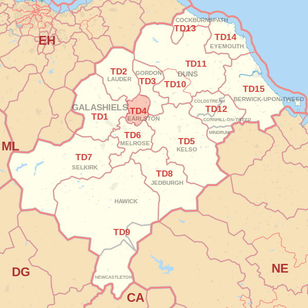 Map showing the TD4 Postcode area Cpvered By Berwick skip Hire
