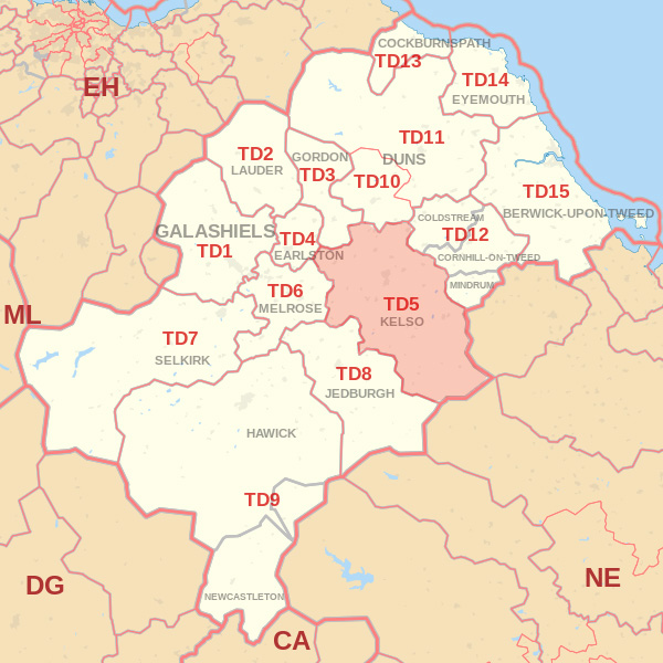 Map showing the TD5 Postcode area Cpvered By Berwick skip Hire