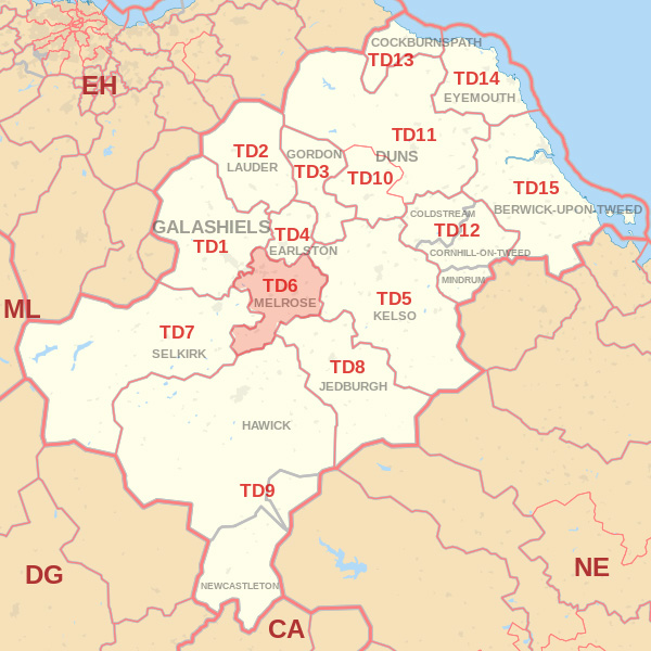 Map showing the TD6 Postcode area Cpvered By Berwick skip Hire