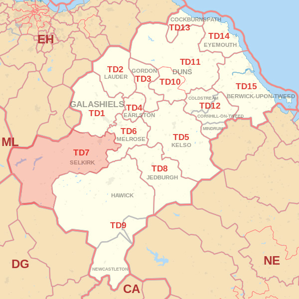 Map showing the TD7 Postcode area Cpvered By Berwick skip Hire