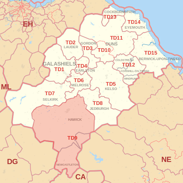 Map showing the TD9 Postcode area Cpvered By Berwick skip Hire